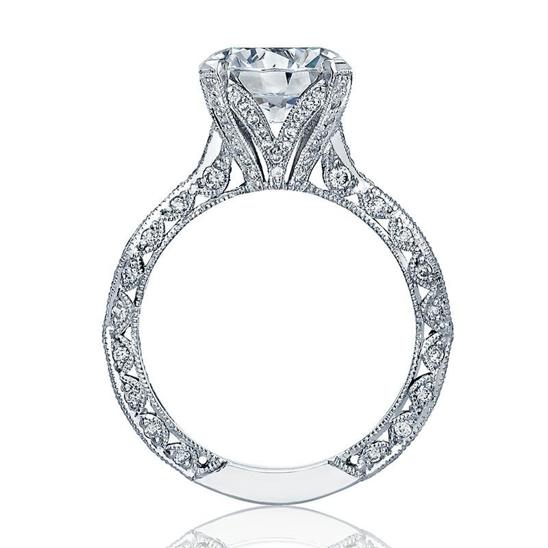 Tacori HT2602RD95 Diamond Ribbon Platinum Engagement RoyalT Setting Edge View