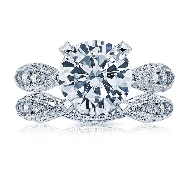 Tacori HT2602RD95 Diamond Ribbon Platinum Engagement RoyalT Setting with Band