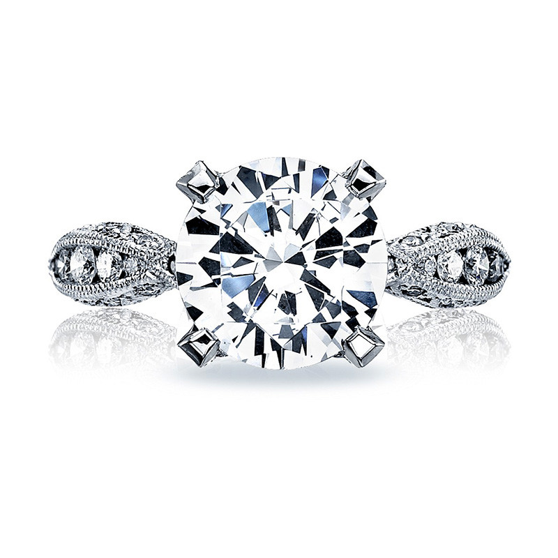 Tacori HT2602RD95 Diamond Ribbon Platinum Engagement RoyalT Setting Top View
