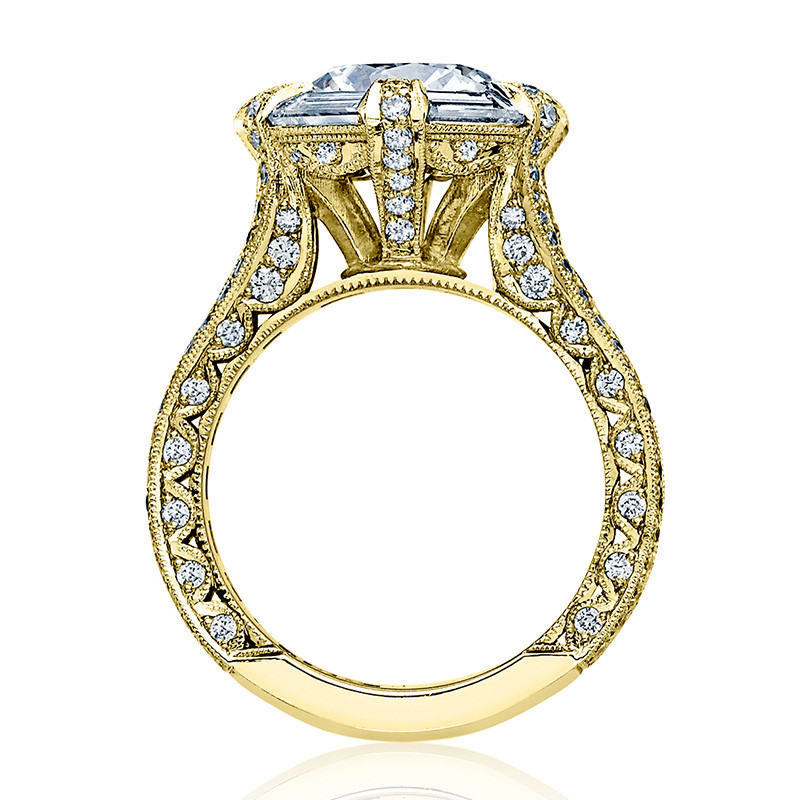 Tacori HT2603RD95 Baguette Bloom Yellow Gold Engagement RoyalT Setting Edge View
