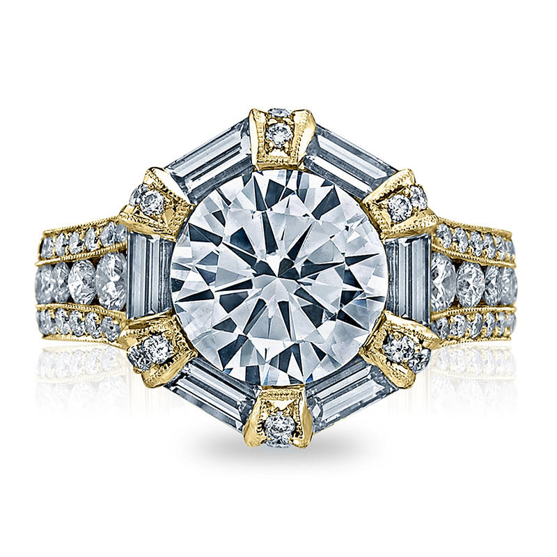 Tacori HT2603RD95 Baguette Bloom Yellow Gold Engagement RoyalT Setting Top View