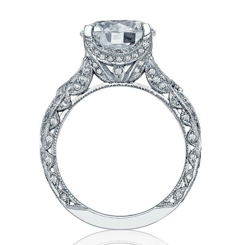 Tacori HT2606RD8 Diamond Ribbon Platinum Engagement RoyalT Setting Edge View