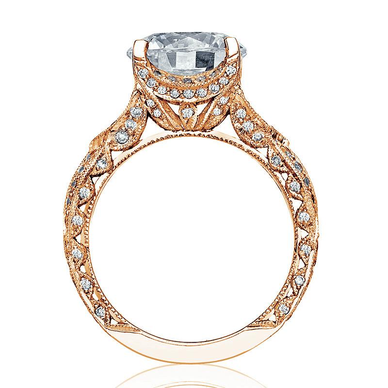 Tacori HT2606RD8 Diamond Ribbon Rose Gold Engagement RoyalT Setting Edge View