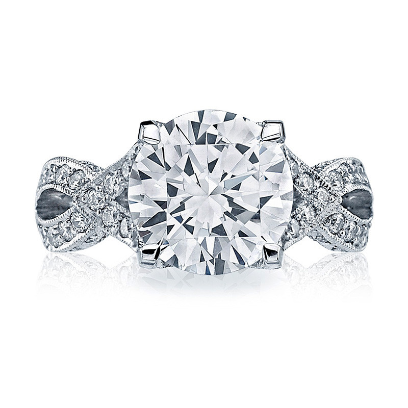 Tacori HT2606RD8 Diamond Ribbon Platinum Engagement RoyalT Setting Top View