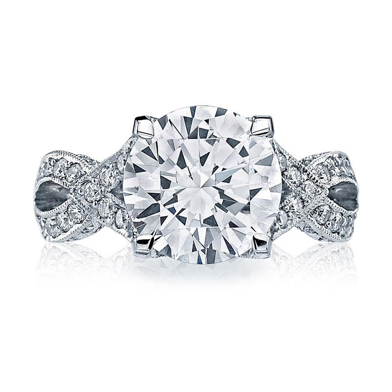 Tacori HT2606RD95 Diamond Ribbon Platinum Engagement RoyalT Setting Top View