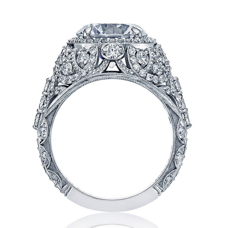Tacori HT2612RD85 Sculpted Bloom Platinum Engagement RoyalT Setting Edge View