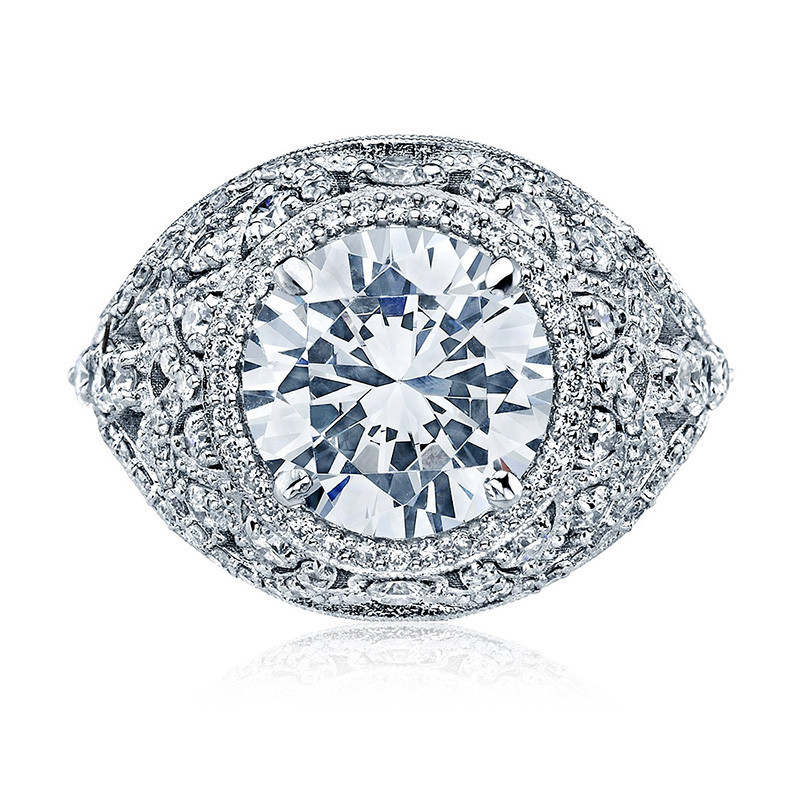 Tacori HT2612RD85 Sculpted Bloom Platinum Engagement RoyalT Setting Top View