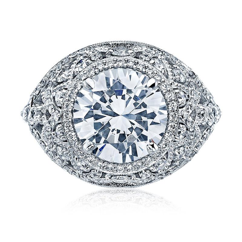 Tacori HT2612RD9 Sculpted Bloom Platinum Engagement RoyalT Setting Top View