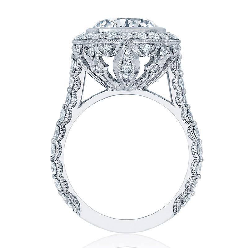 Tacori HT2614RD9 Platinum Diamond Bloom Engagement RoyalT Setting Edge View