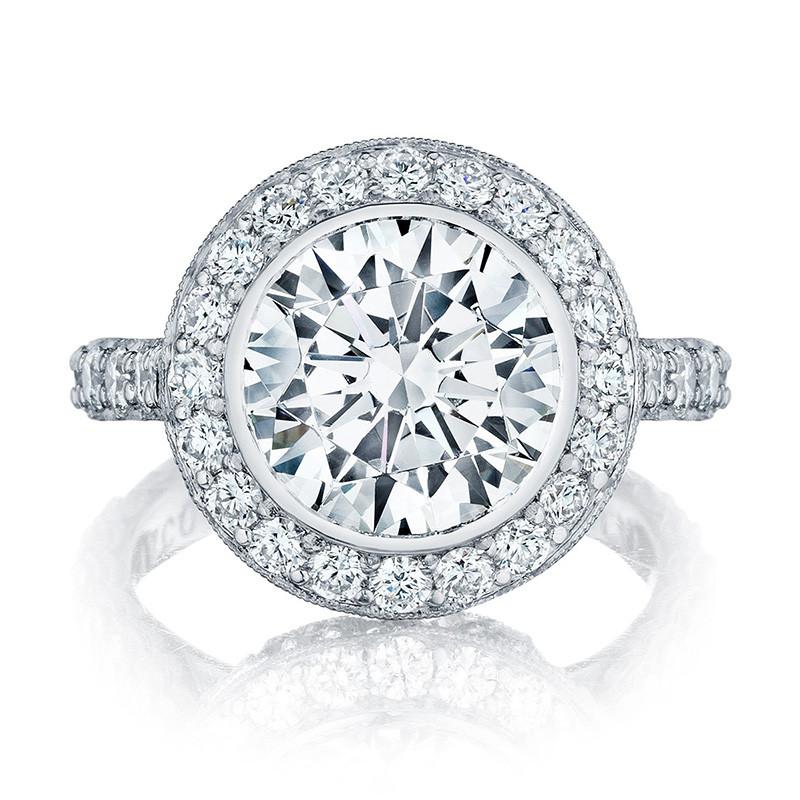 Tacori HT2614RD9 Platinum Diamond Bloom Engagement RoyalT Setting Top View