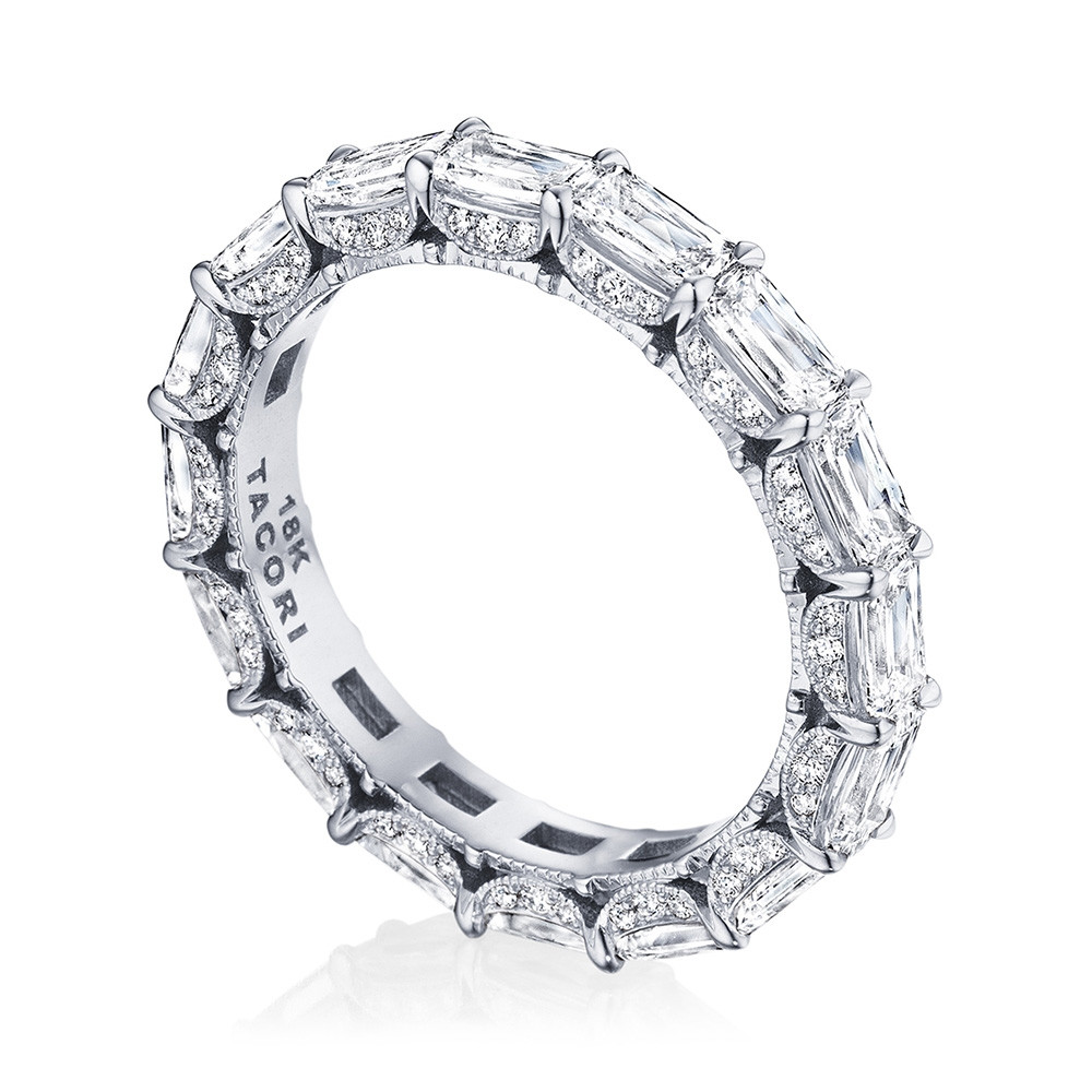 Tacori RoyalT East-West Triple Cut Diamond Eternity Wedding Band Angle View