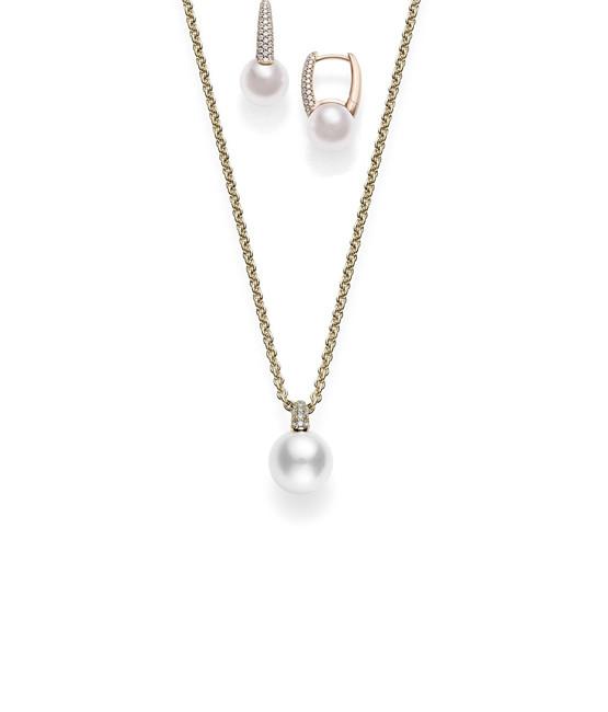 Mikimoto Akoya Pearl and Diamond - The Huggie Set