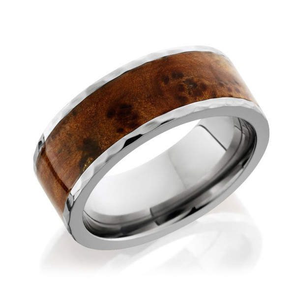 Lashbrook 8mm Flat Thuya Burl Wood Band