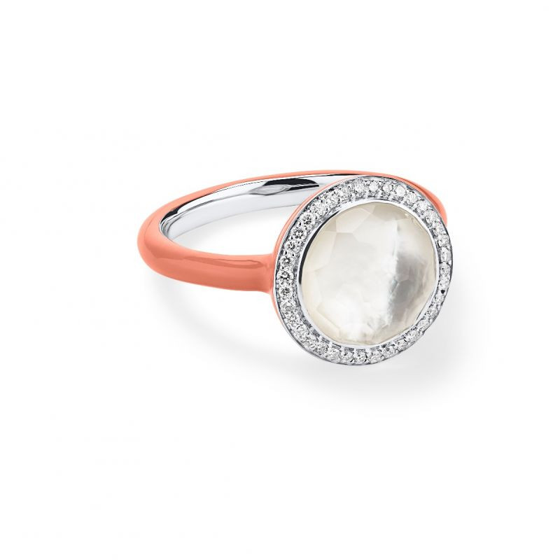 Ippolita Carnevale 925 Silver Mother of Pearl and Coral Ring with Diamonds main view