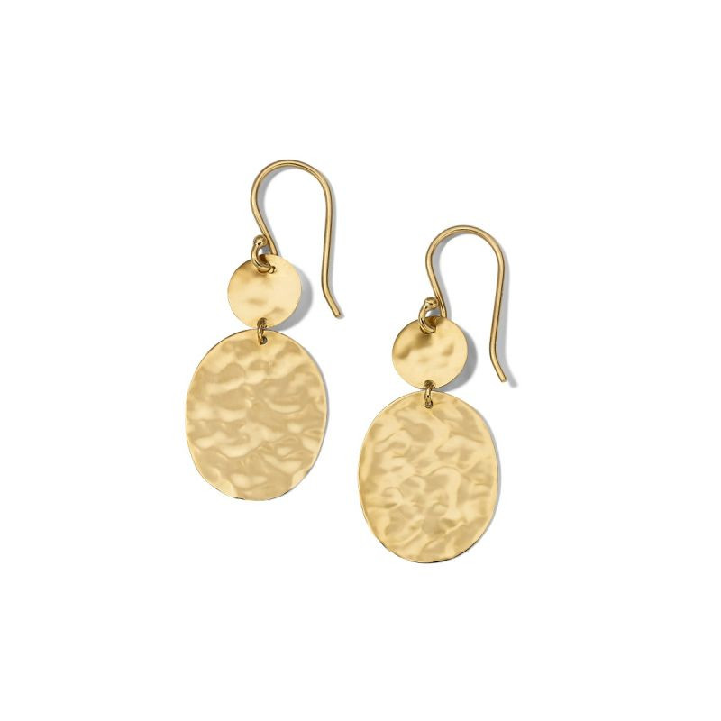 Ippolita Classico Hammered Oval Drop Earrings in 18K Gold main view