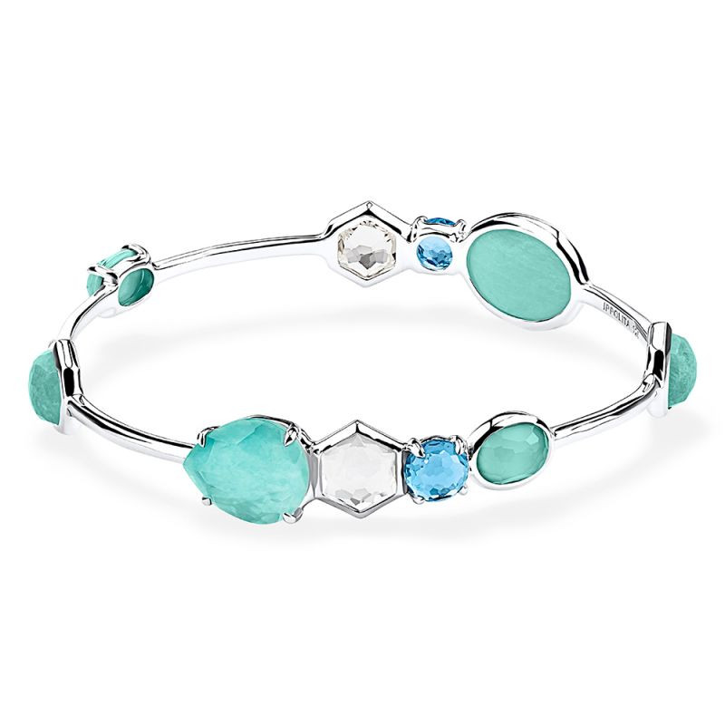 Ippolita Rock Candy Blue Gemstone Oval Bangle in Silver main view