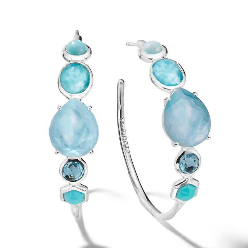 Ippolita Rock Candy Blue Gemstone Hoop Earrings in Silver main view