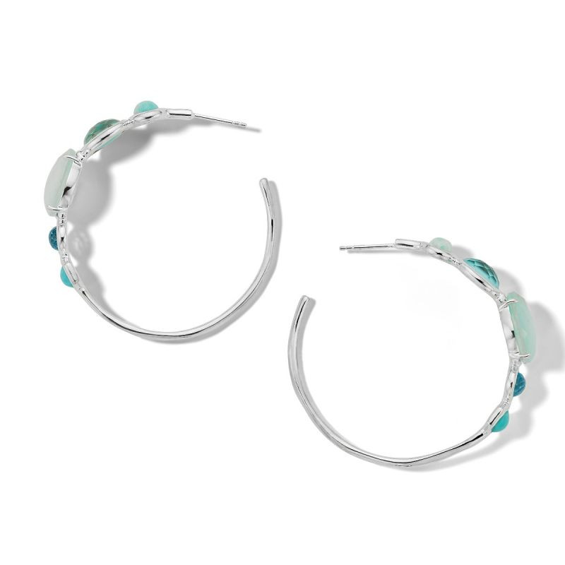 Ippolita Rock Candy Blue Gemstone Hoop Earrings in Silver top view
