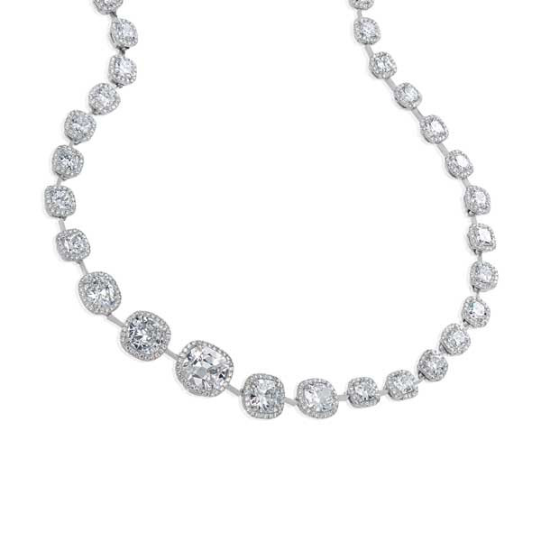 20.78ctw Platinum Cushion Pave Diamond Necklace