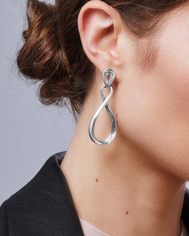 John Hardy Classic Chain Asli Silver Infinity Drop Earrings on Model