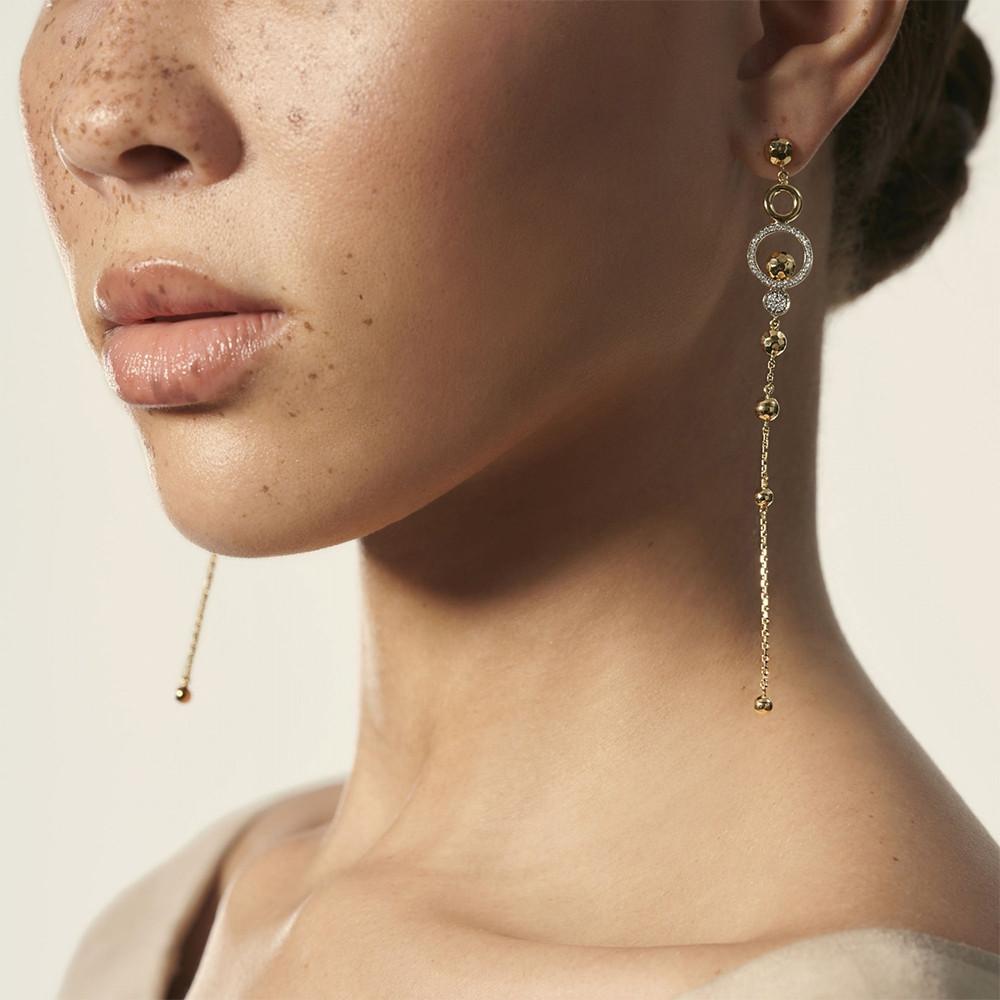 John Hardy Dot Hammered Drop Chain Earrings on model