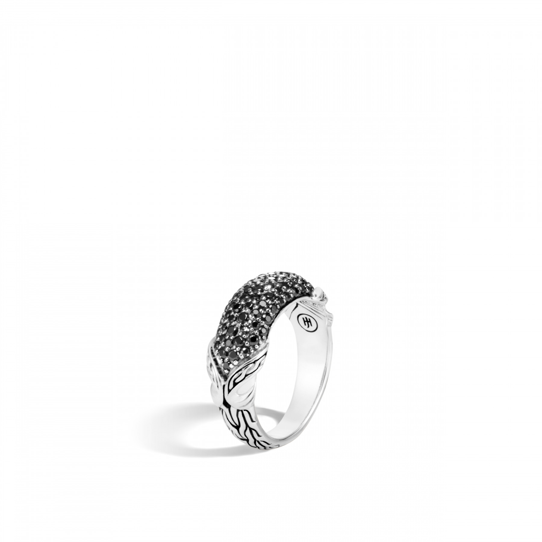John Hardy Asli Classic Chain Silver and Black Gemstone Ring