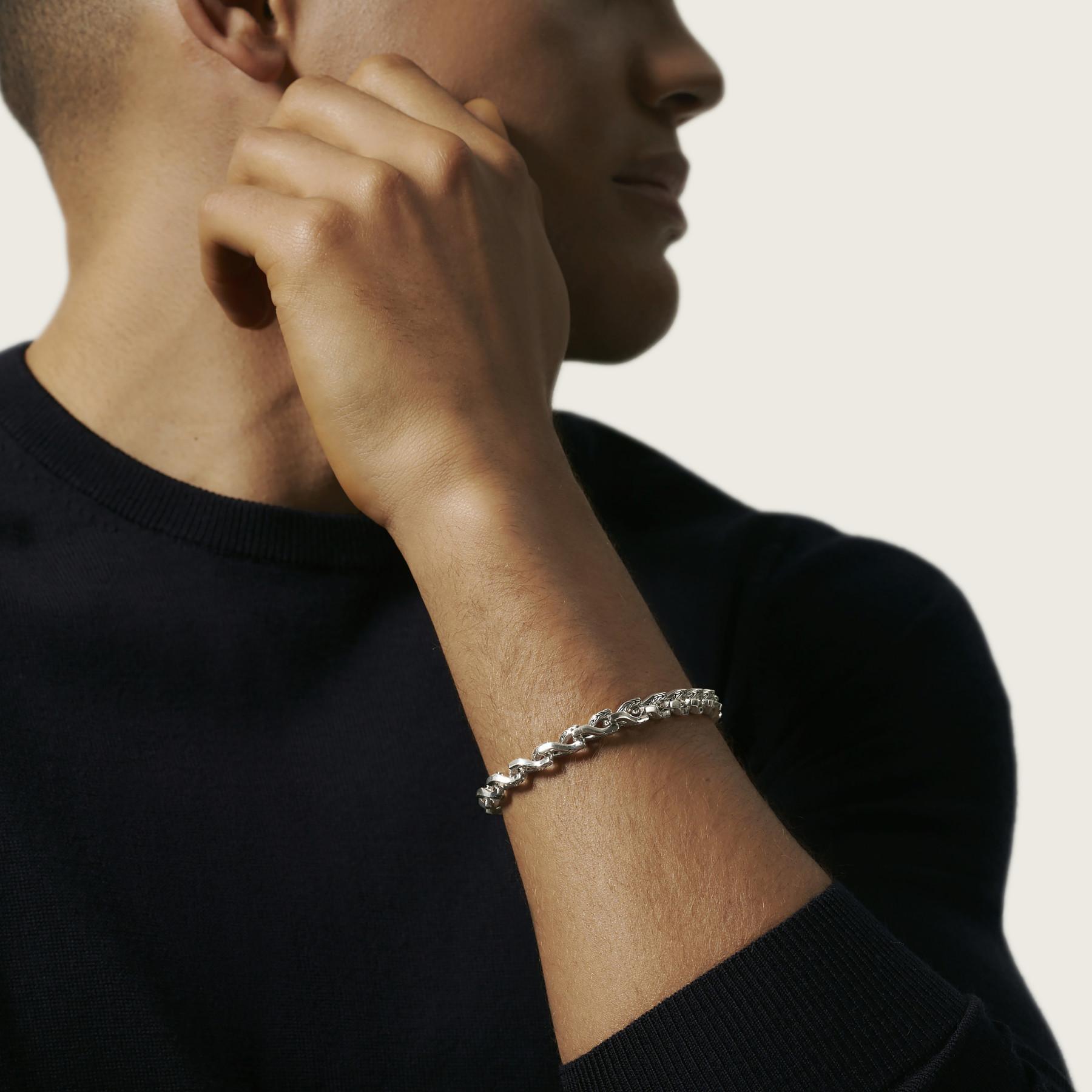 John Hardy Asli Classic Chain Silver Link Bracelet - 7mm on model