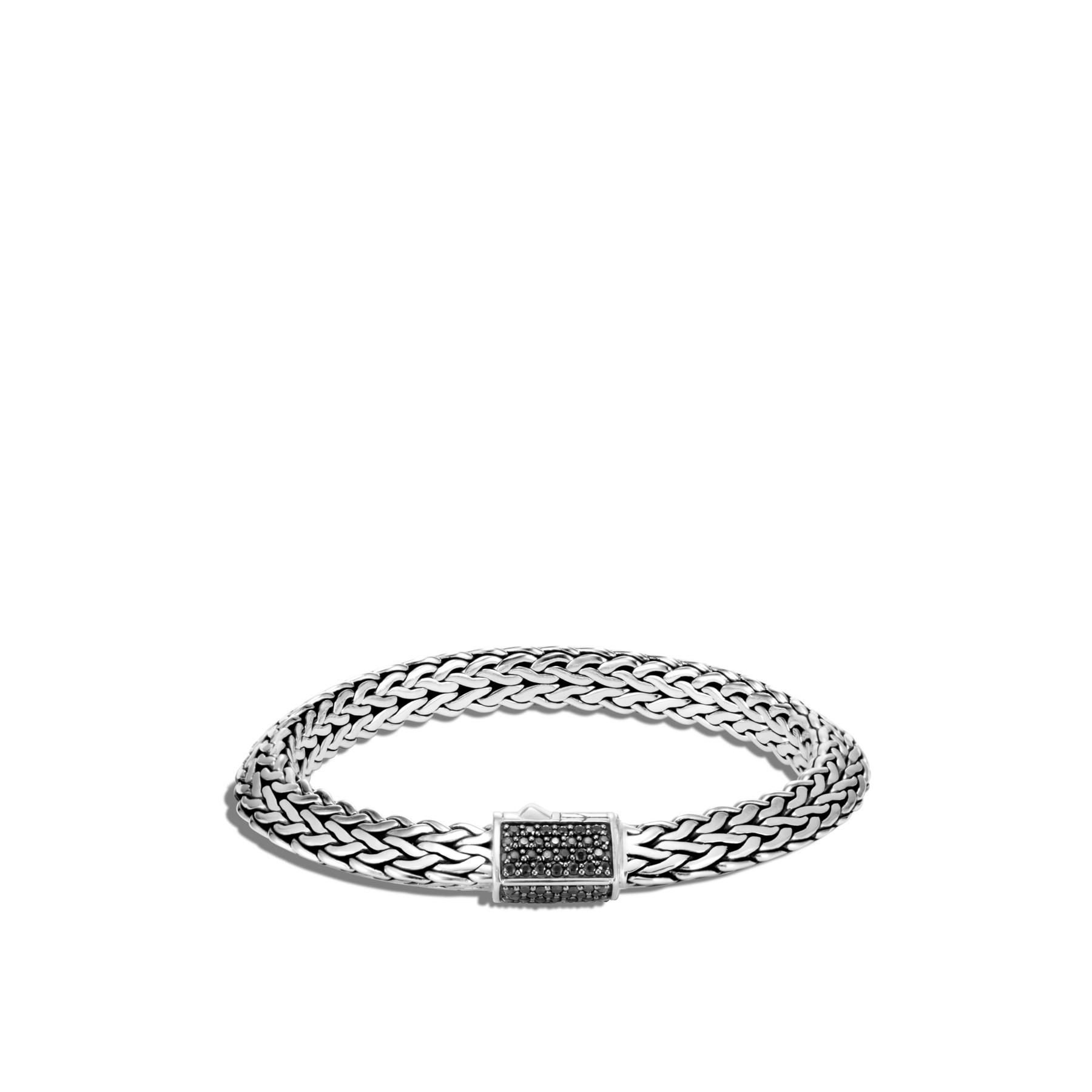 John Hardy Classic Chain Silver Black Sapphire Bracelet - 8mm front view