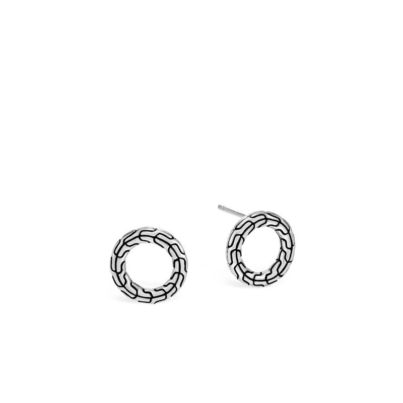 John Hardy Classic Chain Sterling Silver Circle Studs front view