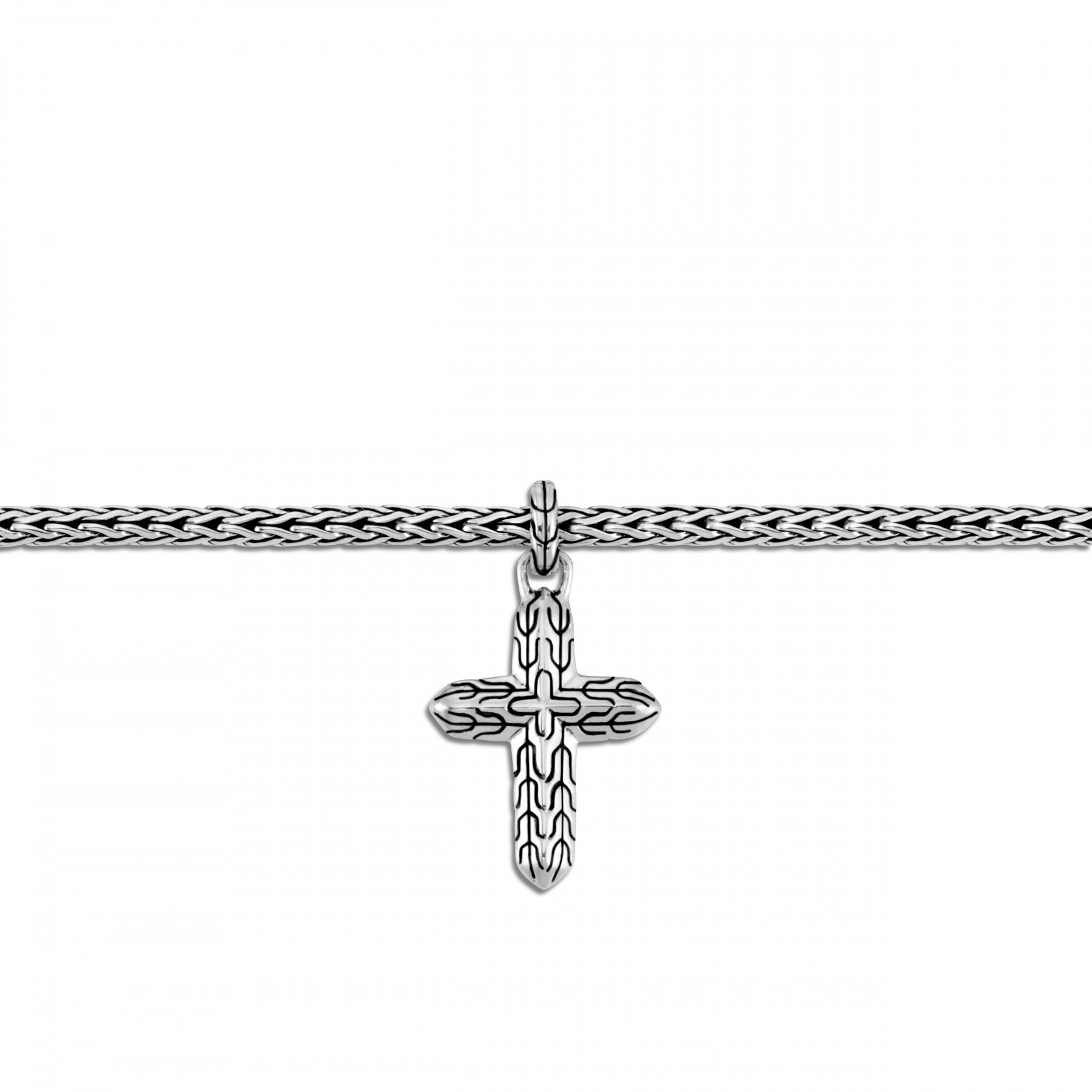 John Hardy Classic Chain Sterling Silver Cross Charm Bracelet close up