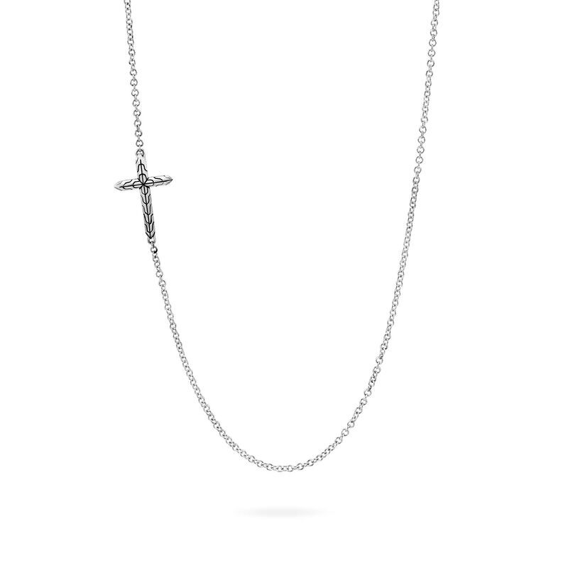 John Hardy Classic Chain Cross Necklace in Sterling Silver front view
