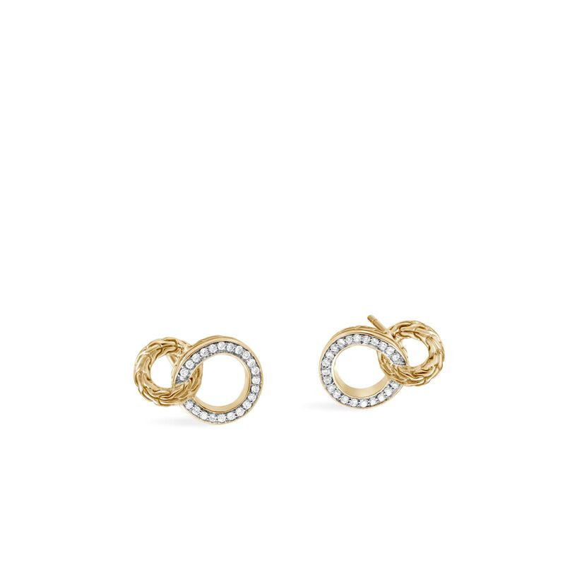 John Hardy Classic Chain 18K Gold and Diamond Circle Stud Earrings front view