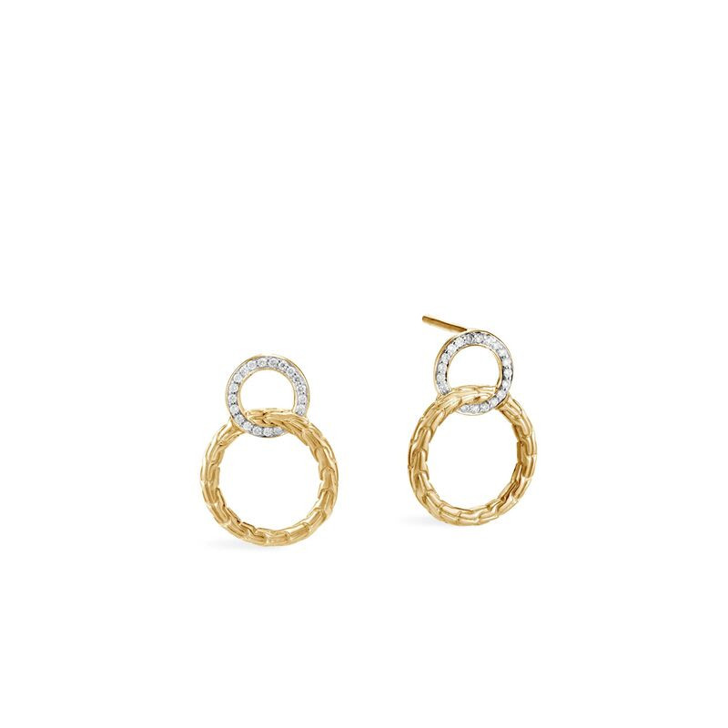 John Hardy Classic Chain Gold and Diamond Stud Earrings front view