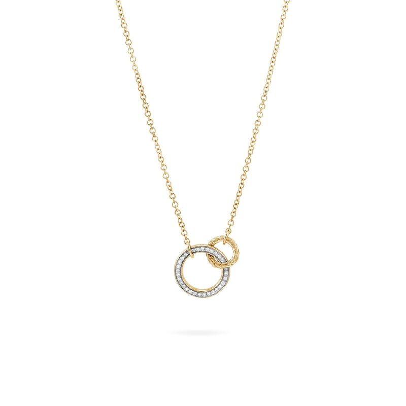 John Hardy Classic Chain Interlinking Circle Gold and Diamond Necklace front view
