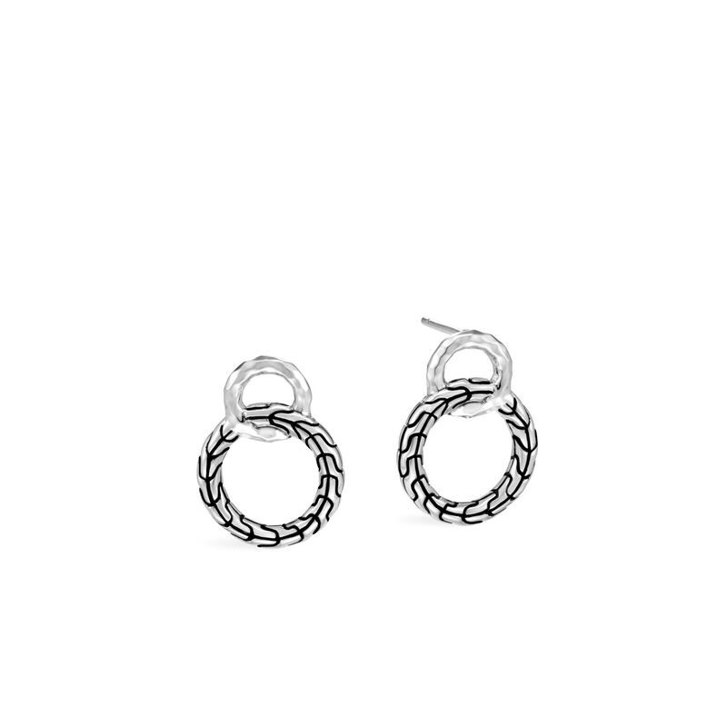 John Hardy Classic Chain Sterling Silver Interlinked Earrings front view