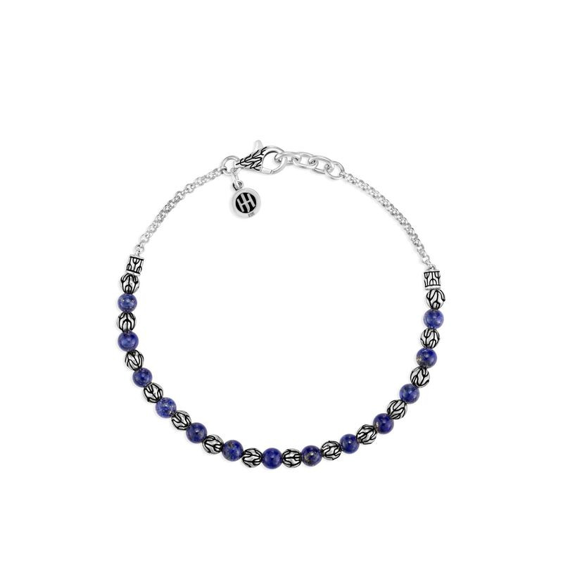 John Hardy Classic Chain Silver and Lapis Lazuli Bead Bracelet front view