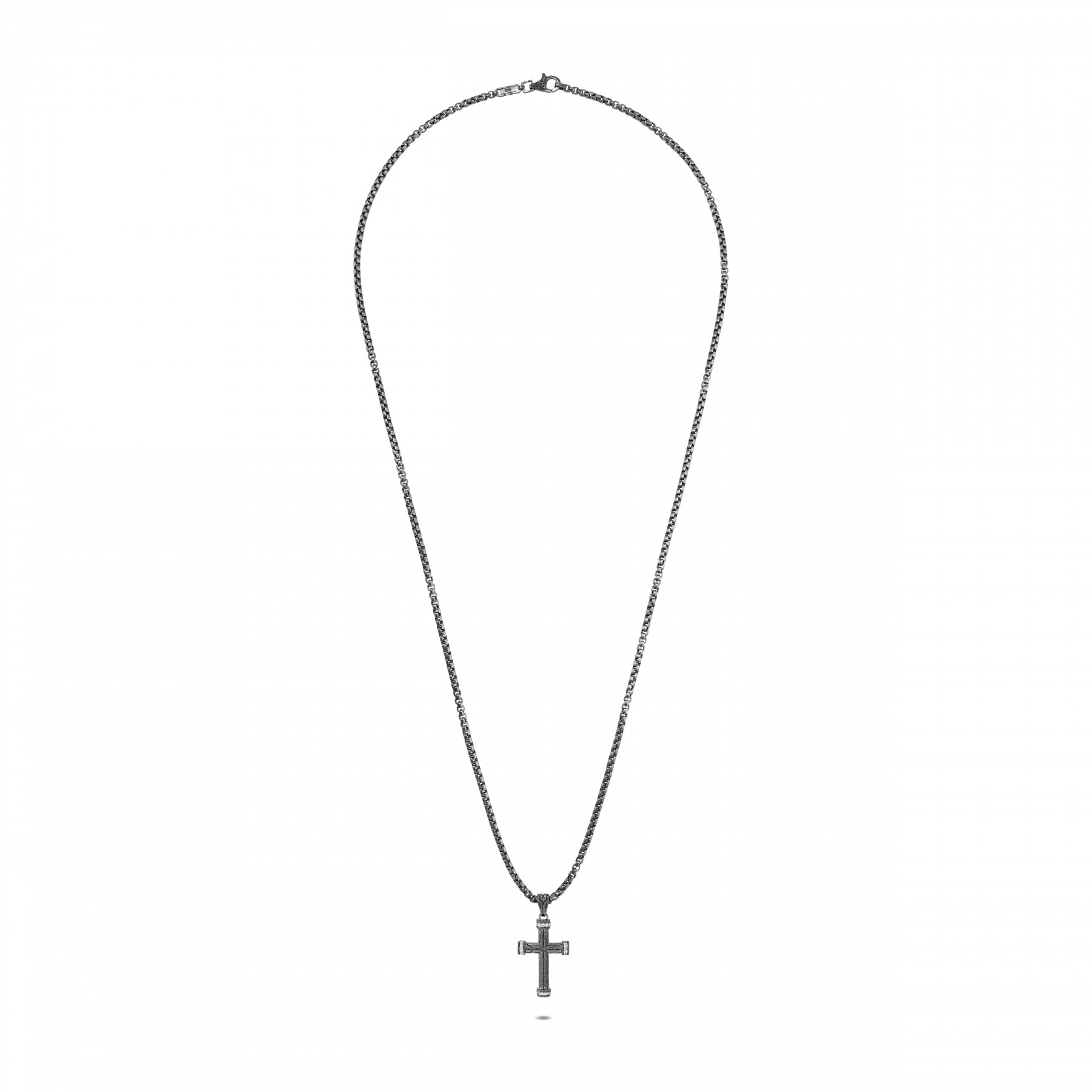 John Hardy Classic Chain Matte Black Cross Necklace with Diamonds full view