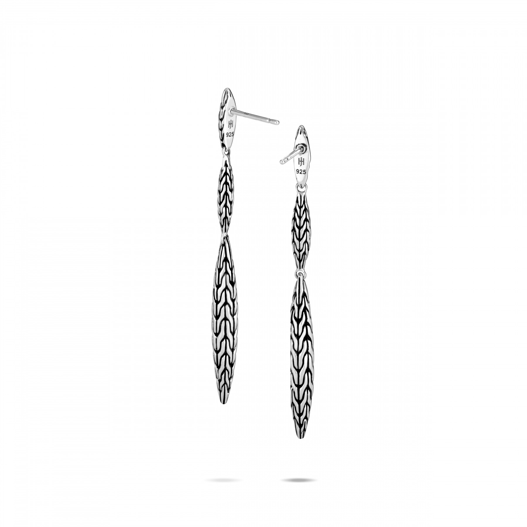 John Hardy Classic Chain Silver Spear Drop Earrings back view