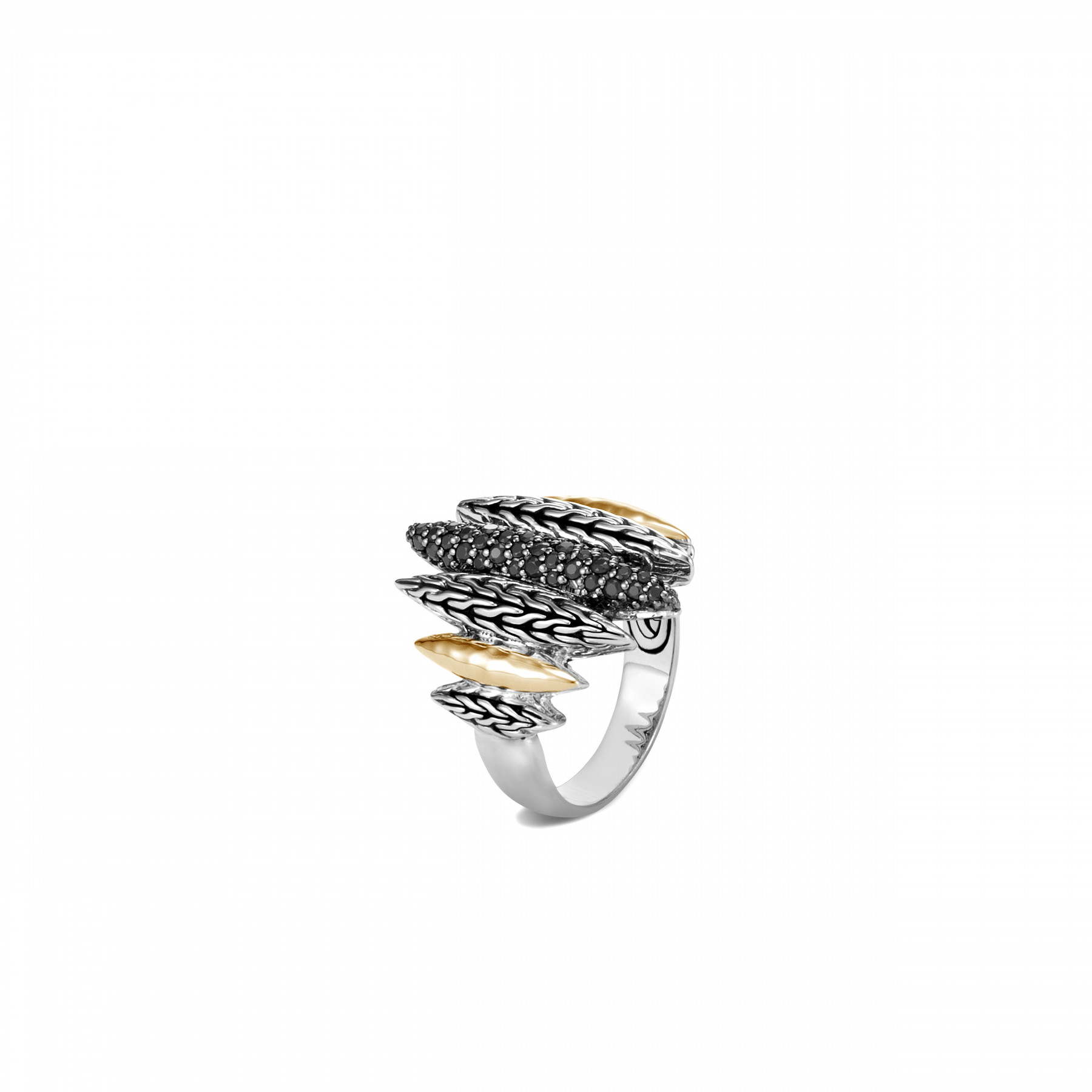 John Hardy Classic Chain Mixed Metal Spear Ring front view