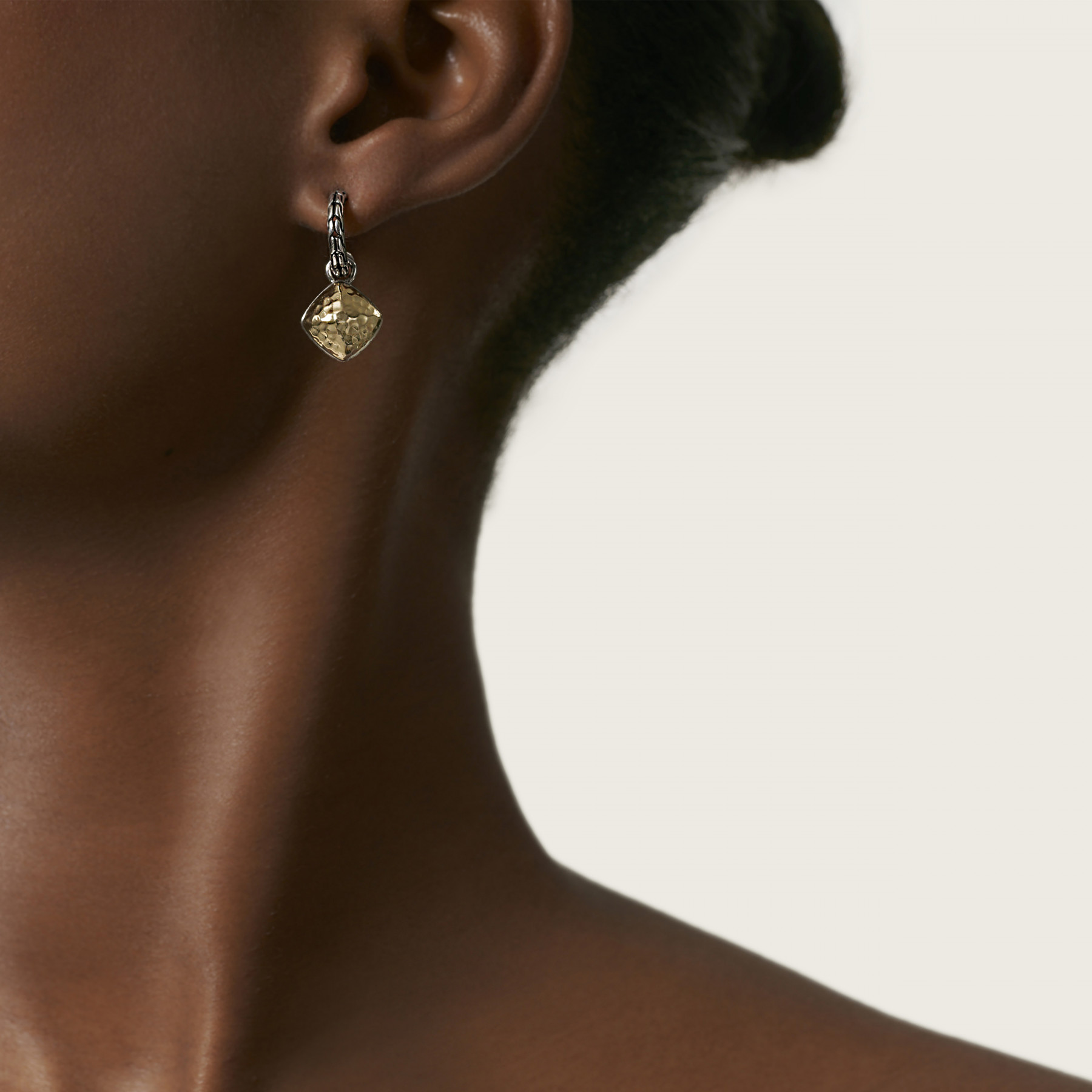John Hardy Classic Chain Silver and Gold Drop Earrings on model