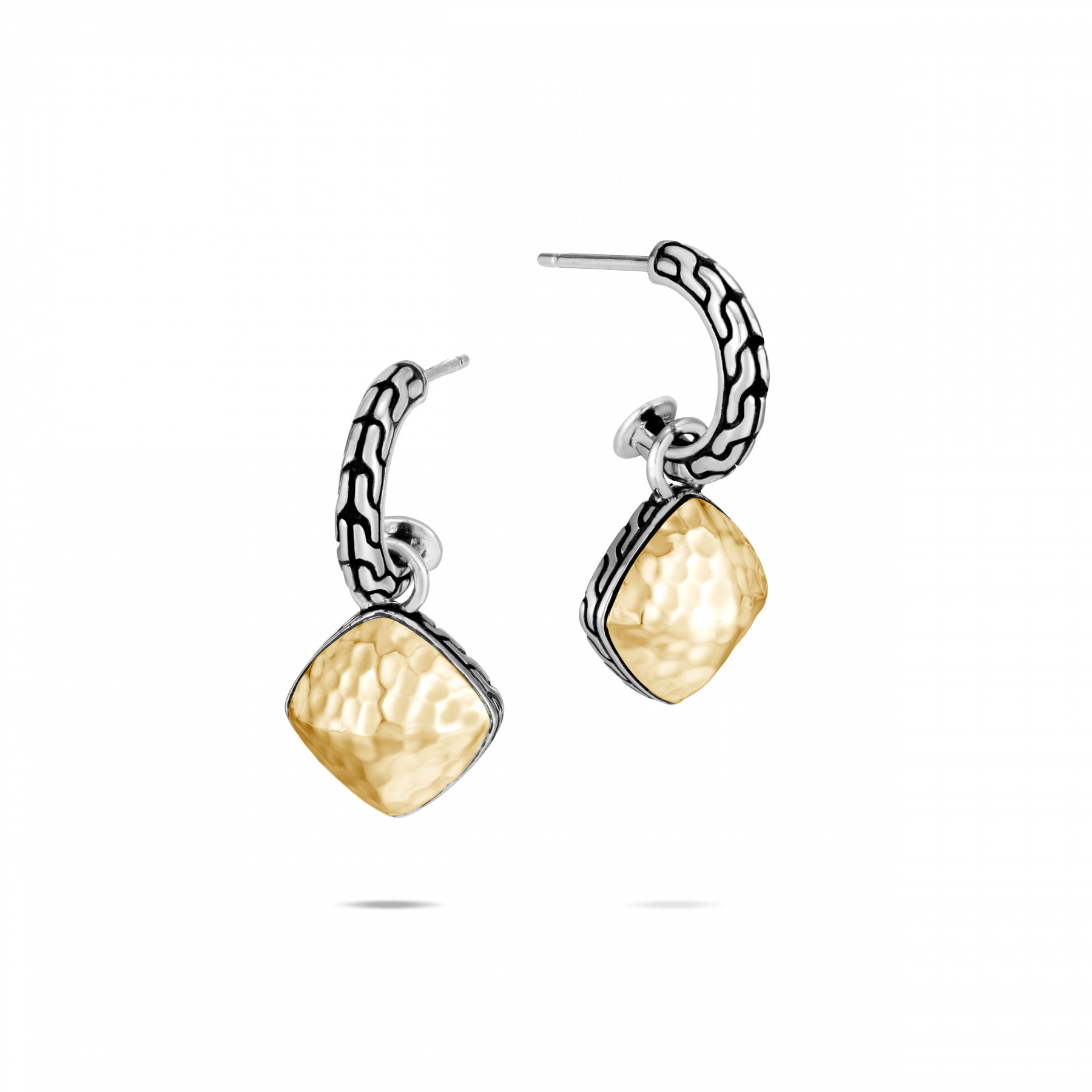 John Hardy Classic Chain Silver and Gold Drop Earrings front view