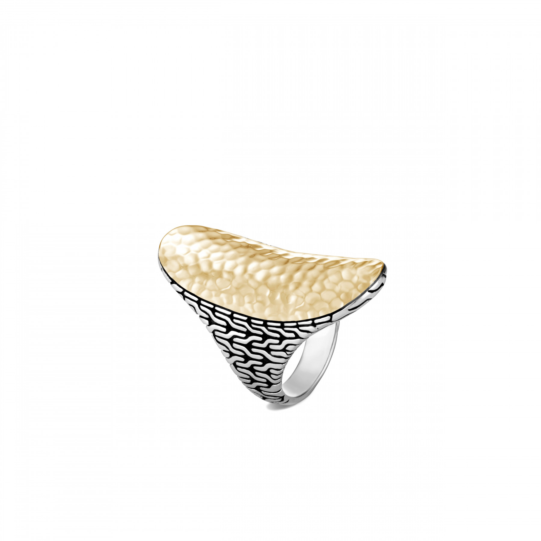 John Hardy Classic Chain Silver and Gold Saddle Ring