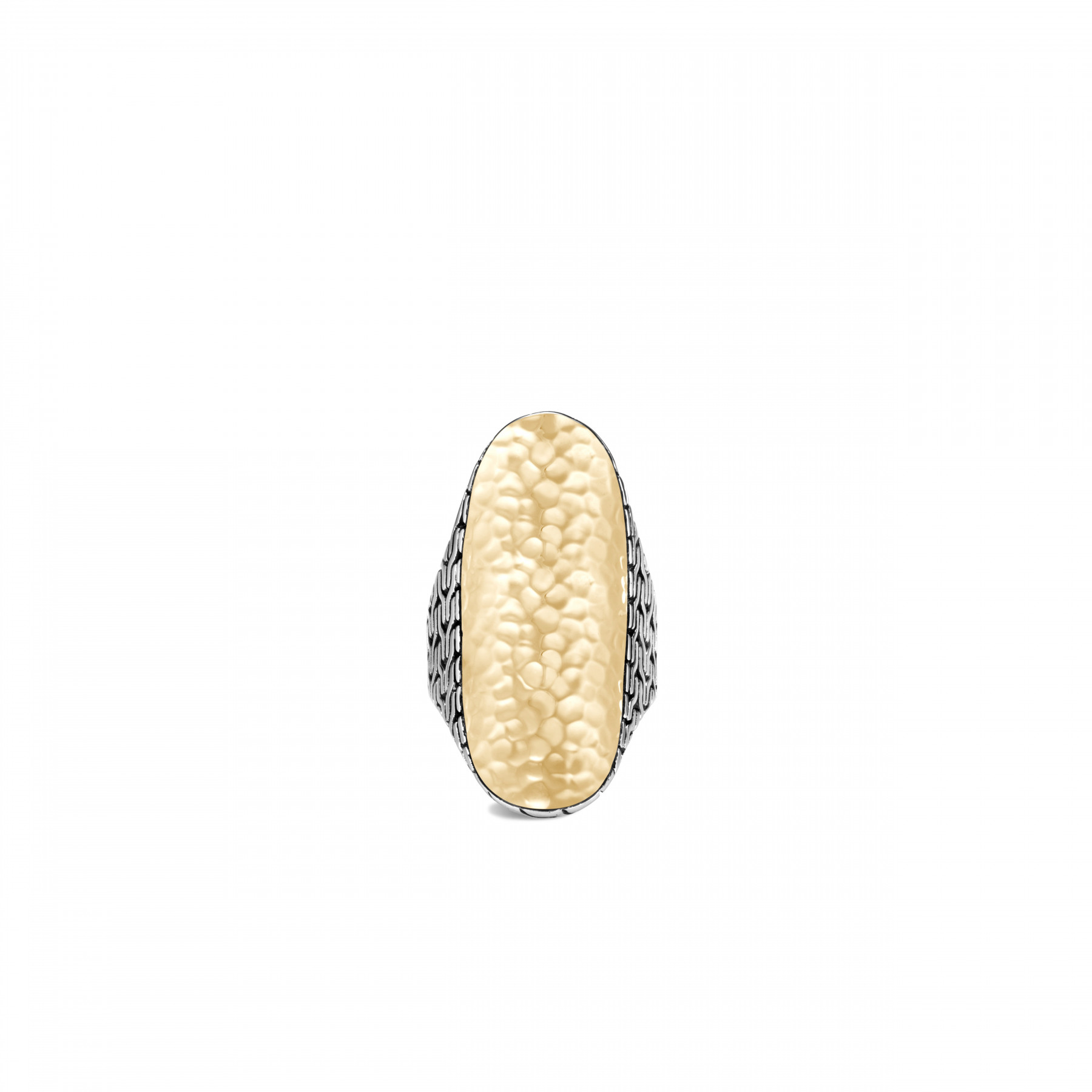 John Hardy Classic Chain Silver and Gold Saddle Ring top view