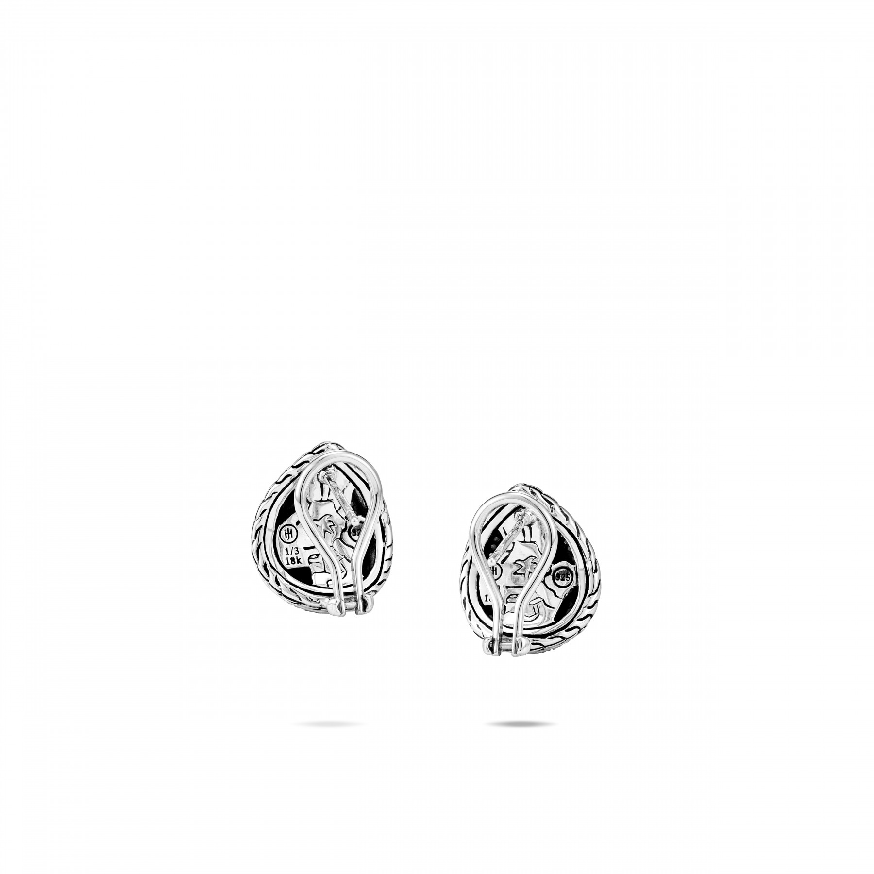 John Hardy Classic Chain Gold and Silver Teardrop Stud Earrings back view