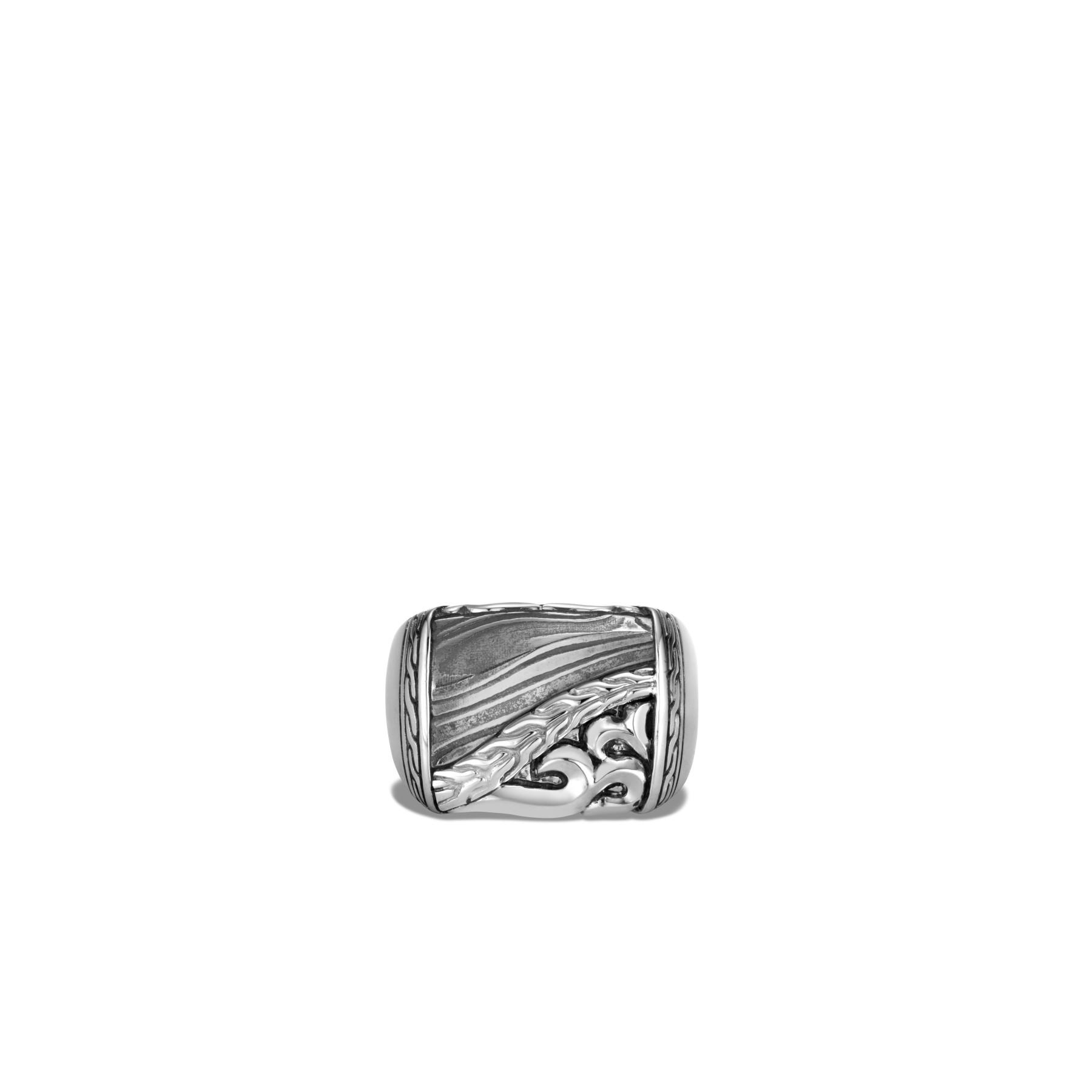 John Hardy Classic Chain Damascus Steel Ring top view