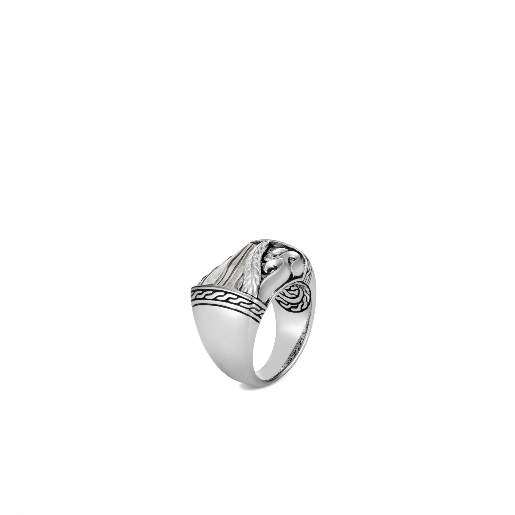John Hardy Classic Chain Damascus Steel Ring front view