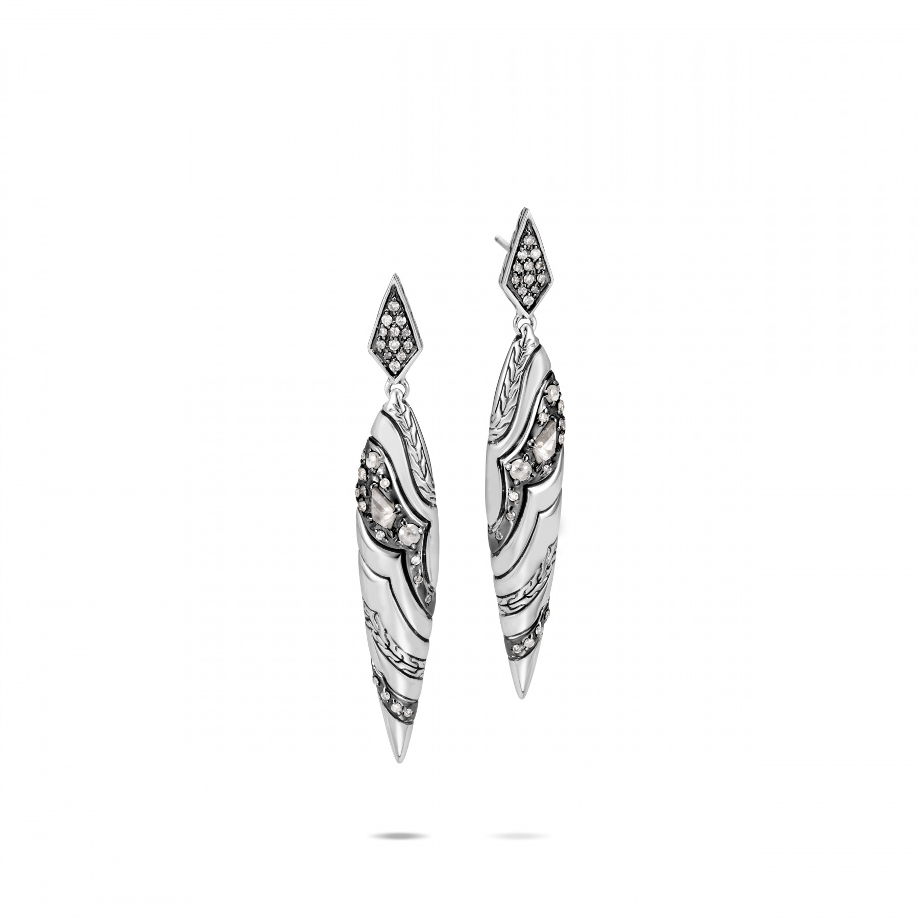 John Hardy Lahar White and Grey Diamond Spear Earrings front view