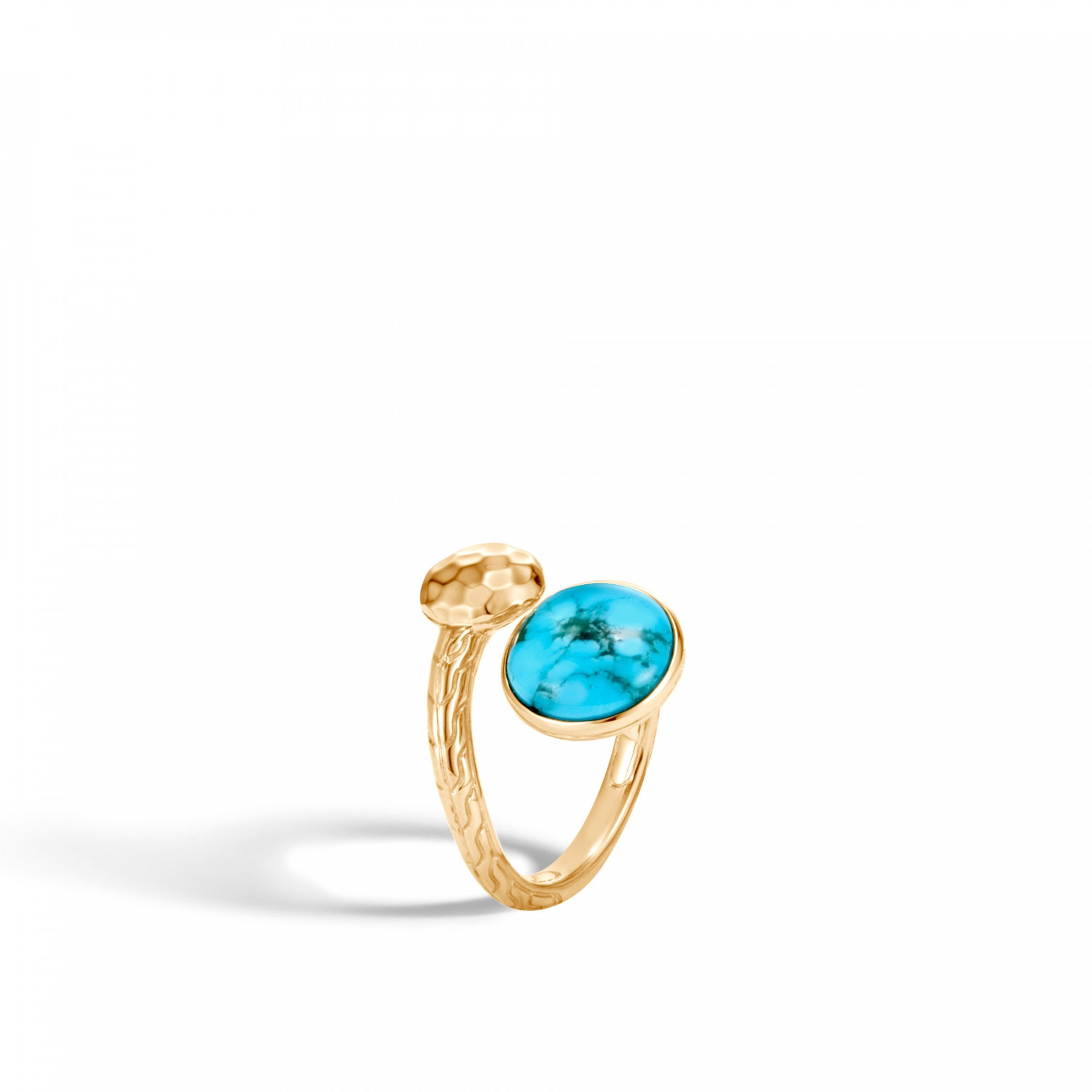 John Hardy Dot Bypass Turquoise Ring in 18k Yellow Gold angle view