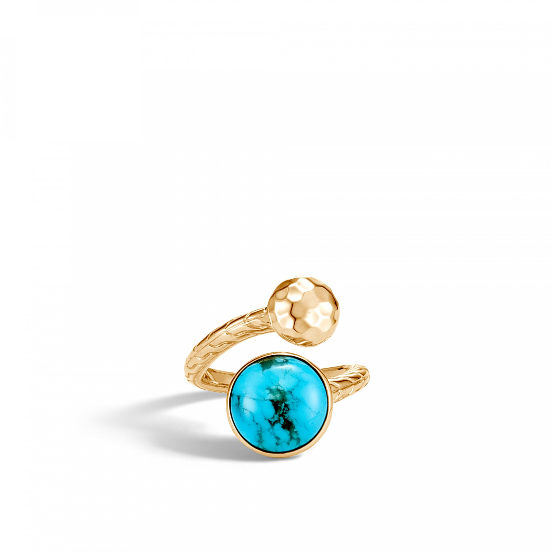 John Hardy Dot Bypass Turquoise Ring in 18k Yellow Gold front view