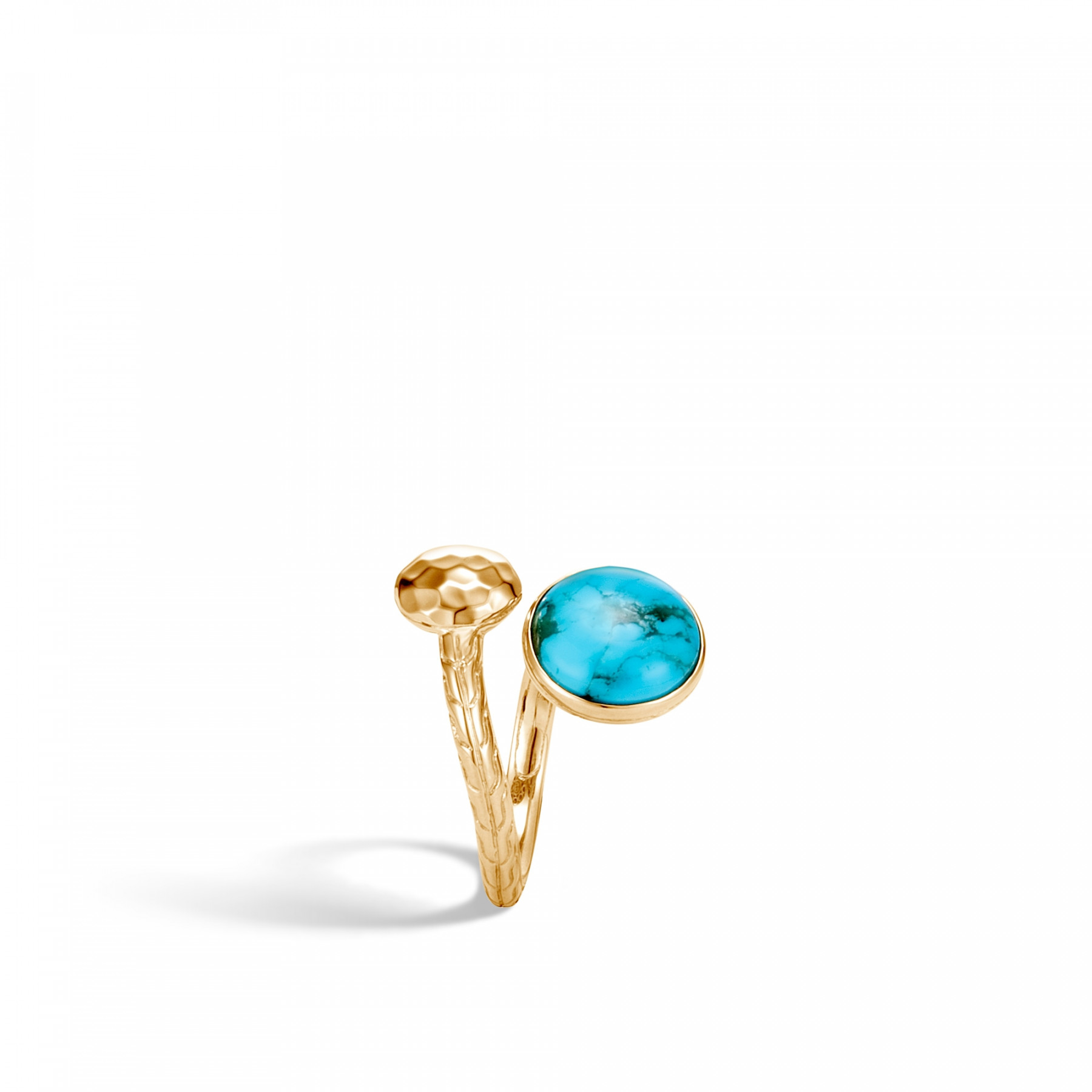 John Hardy Dot Bypass Turquoise Ring in 18k Yellow Gold side view